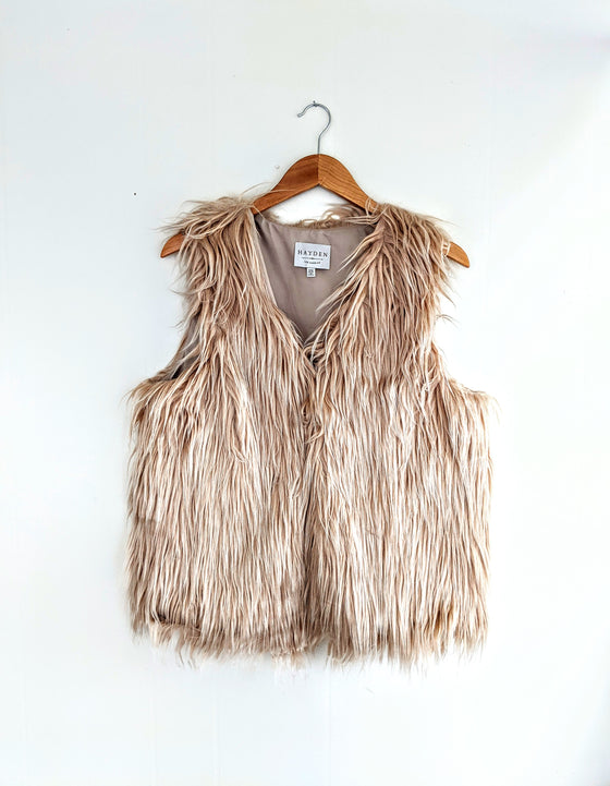Only the Beginning Beige Faux Fur Vest (5809273995424)