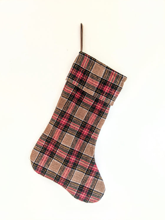 Red, Green, & Tan Plaid Stocking (5612494323872)