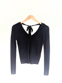 Tied To You Black Long Sleeve Top (5649921704096)