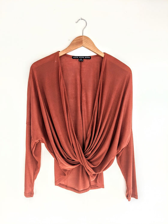 By Sheer Coincidence Rust Poncho Blouse (5809275109536)