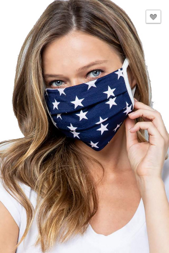 Reusable Navy & White Star Cotton Masks (5268799946912)