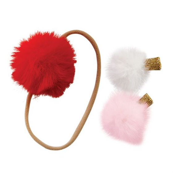 Mud Pie Holiday Puff Headband and Clips (5298475434144)