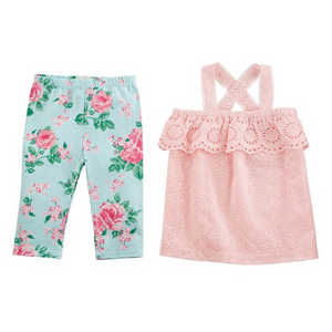 Mud Pie Rose Eyelet Tunic & Capri Set 24m-2T (5287964639392)