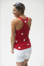 Load image into Gallery viewer, Pretty Patriotic Red Star Spangled Tank Top