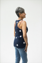 Load image into Gallery viewer, Pretty Patriotic Navy Star Spangled Tank Top