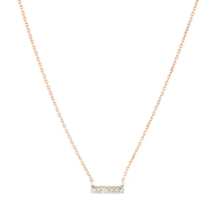 Adina Reyter Super Tiny Pavé Bar Necklace Rose Gold (5439985189024)