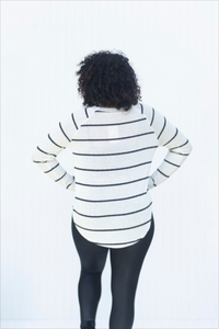Let a Little Loose Striped Ivory Top (5423906422944)