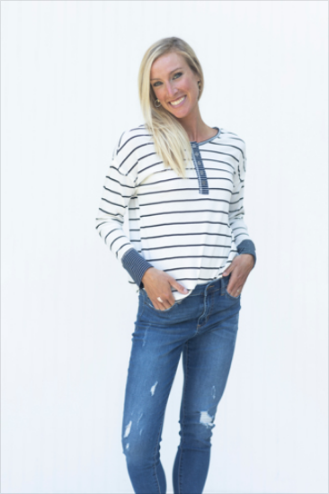 Do Your Thing Ivory & Navy Striped Top (5501394944160)
