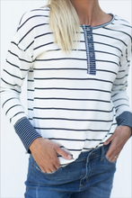 Load image into Gallery viewer, Do Your Thing Ivory & Navy Striped Top (5501394944160)