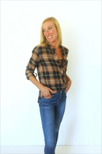 Load image into Gallery viewer, Words of Love Navy Plaid Button Up (5411734585504)