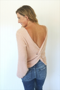 Lean On Me Blush Pink Open Back Sweater (5558112387232)