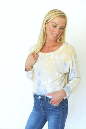 Twist of Fate Yellow & Blue Tie-Dye Top (5549859766432)