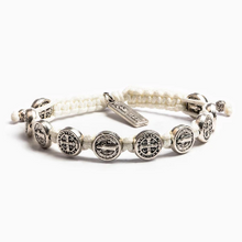 Load image into Gallery viewer, Benedictine Blessing Bracelet - 10 Silver Medals (5164958613548)
