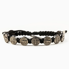 Load image into Gallery viewer, Black Benedictine Blessing Bracelet - 10 Jet Black Medals (5742684635296)