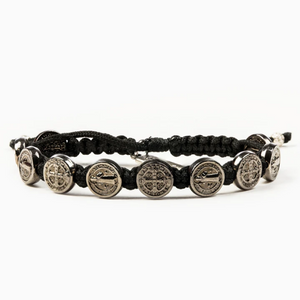 Black Benedictine Blessing Bracelet - 10 Jet Black Medals (5742684635296)
