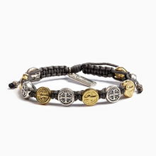 Load image into Gallery viewer, Black Benedictine Blessing Bracelet - 10 Mixed Metal Medals (5742681522336)