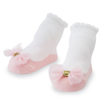 Mud Pie Pink Mesh Bow Socks (5742430650528)