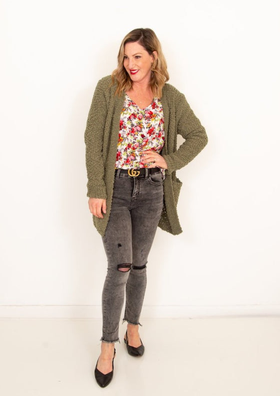 Serene Moments Cardigan in Light Olive (6013300146336)
