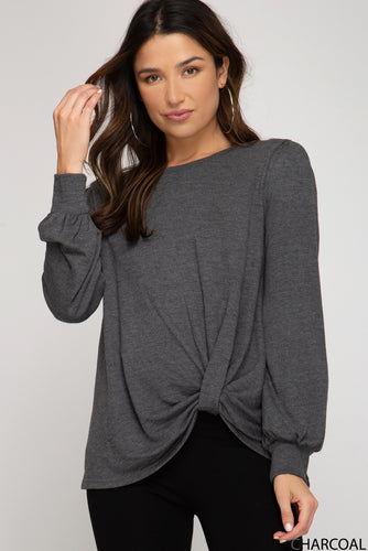 Knots About You Charcoal Top (5612189057184)