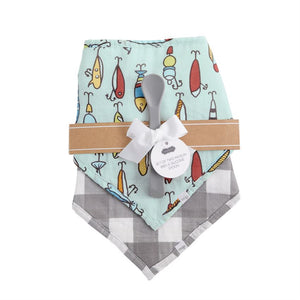 Fish Muslin Bib & Spoon Set