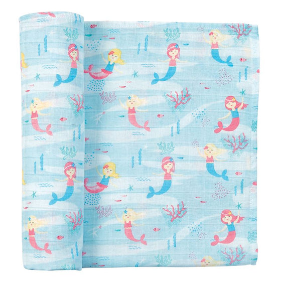 Mermaid Muslin Swaddle Blanket (4996354342956)