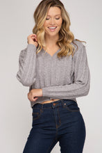 Load image into Gallery viewer, Gracious in Grey Cropped Cable Knit Sweater (5612189614240)