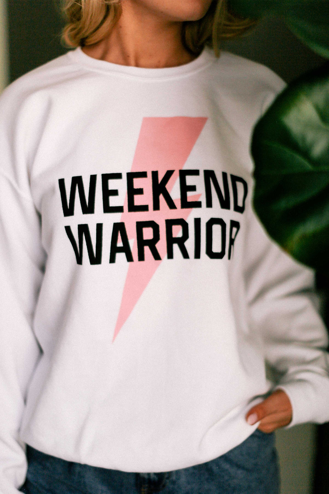 Weekend Warrior White Graphic Sweatshirt