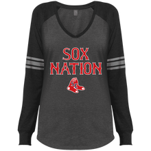 Load image into Gallery viewer, Sox Nation Ladies' Game LS V-Neck T-Shirt