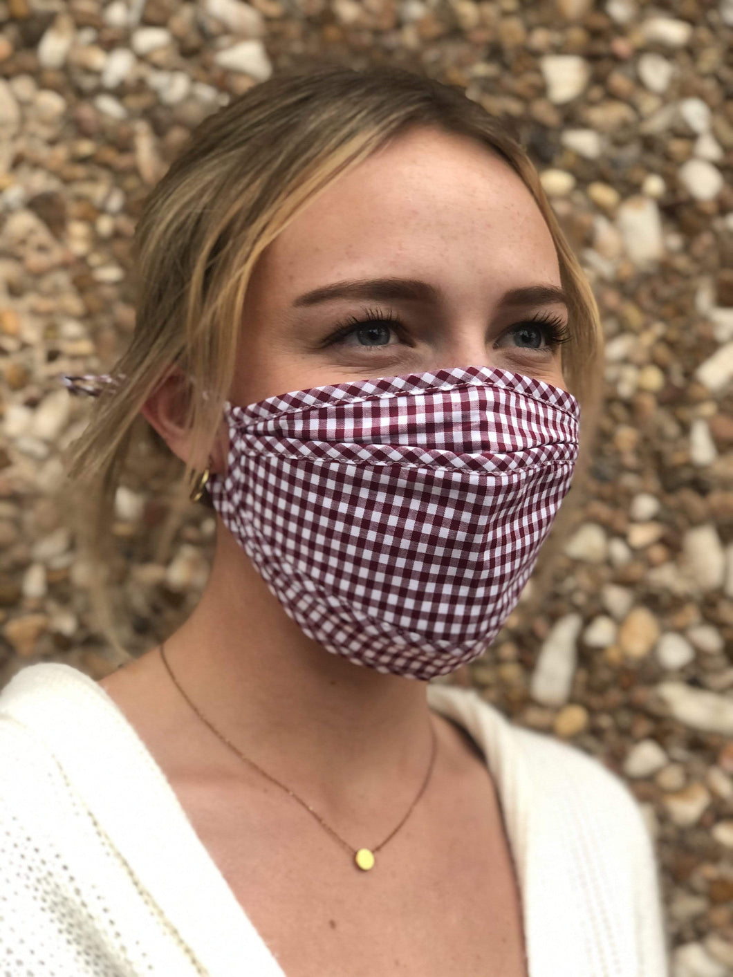 Fashion Face Covering - Burgundy Gingham