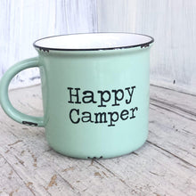 Load image into Gallery viewer, Mint green camp style ceramic mug that says Happy Camper.