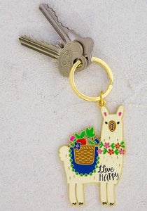 Natural Life Collections Gift Llive Happy Llama Enamel Keychain
