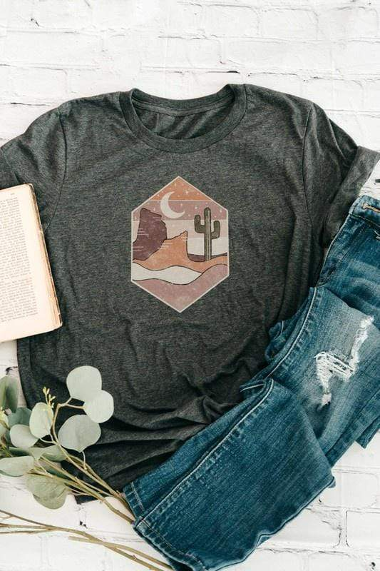 Willow and Grace Tshirts Printed Desert Scene Charcoal T-shirt
