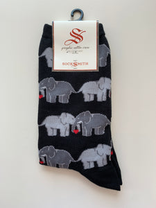 socksmith crew socks elephant love in black