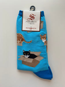 socksmith crew socks cat in a box in azure