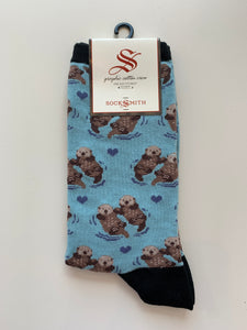 socksmith crew significant otter in blue chalk