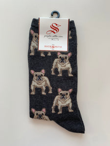 socksmiths crew socks frenchie in charcoal