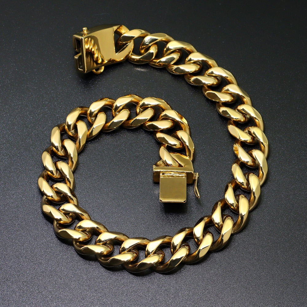 20mm Gold Chain for Dogs | Stainless Steel Cuban Link Chain Collar