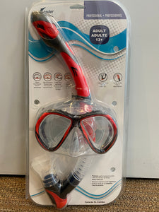 CURACAO SR. SNORKELING COMBO KIT - RED/BLACK