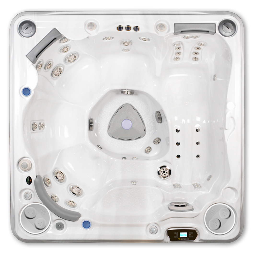 A top down view of a Hydropool Self Cleaning 570 Gold hot tub