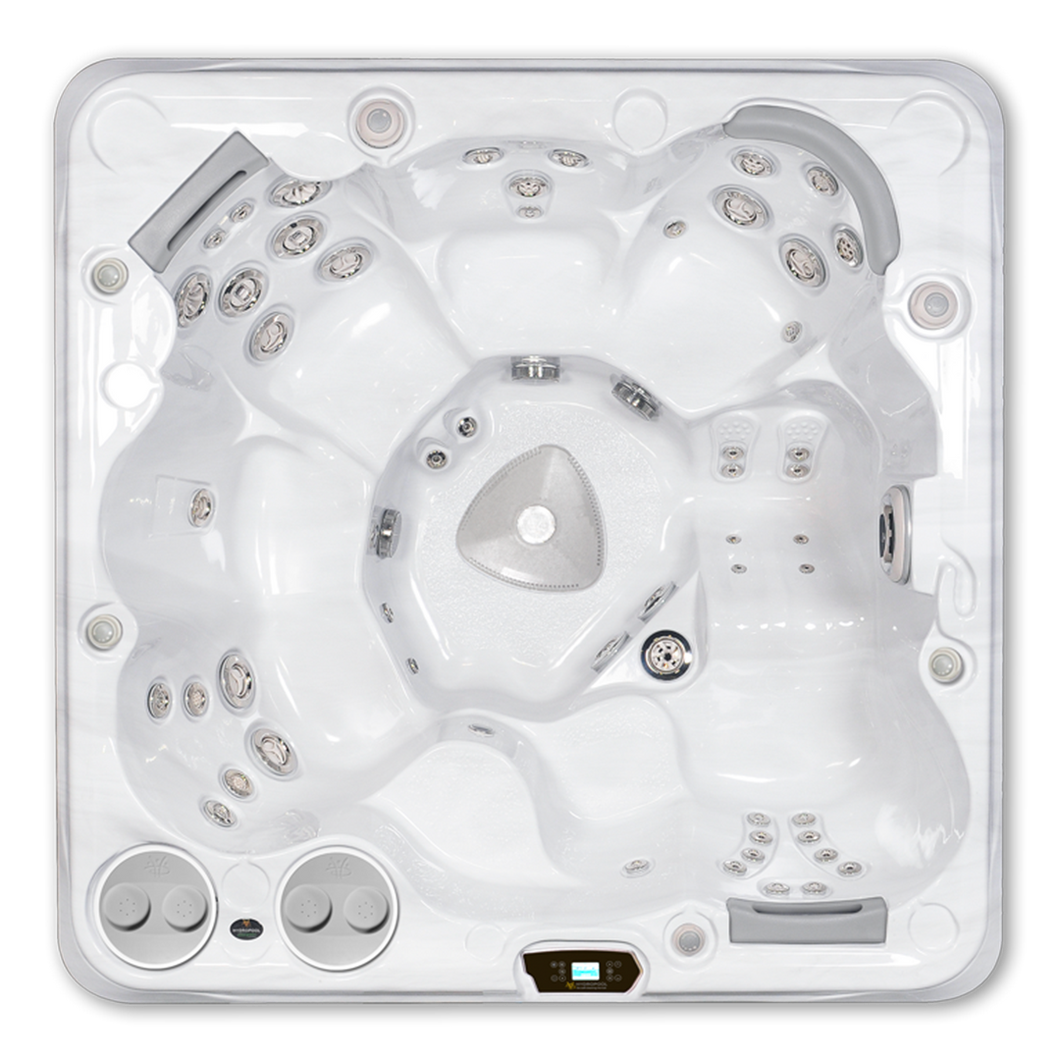 A top down view of a Hydropool Self Cleaning 695 Gold hot tub