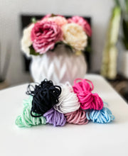 Load image into Gallery viewer, 3mm Spandex Elastic Bundle (10 yards in white, black, mint, pink, lavender, hot pink and baby blue)
