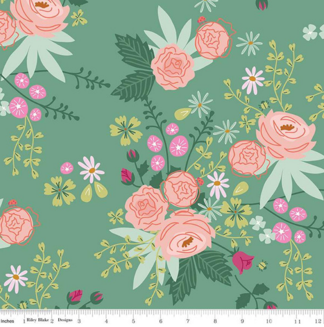New Dawn Teal Floral by Citrus & Mint for Riley Blake Designs