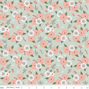 Modern Farmhouse Floral Sage Sparkle | Simple Simon & Company | Riley Blake Designs