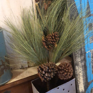 "Giant Pine Spray with Cones 32"" Tall"