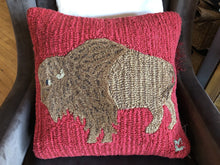 Load image into Gallery viewer, Plush Bison 18x18 Hand Hooked Wool Pillow 4 Corners