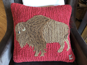 Plush Bison 18x18 Hand Hooked Wool Pillow 4 Corners