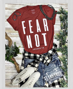 Texas True Threads Fear Not T Shirt.  Heather Red.