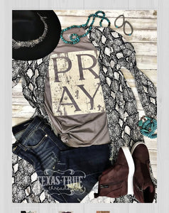 Texas True Threads Pray T Shirt - Pebble