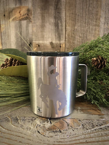 12 oz. Stainless Steel Lidded Cup with Etched Steamboat.