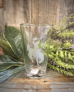 16 oz. Clear Pint Glass with Etched Steamboat.